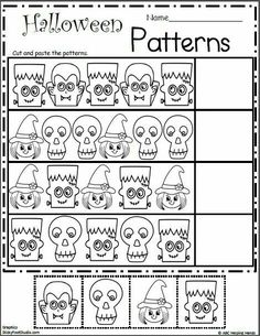 Free Halloween Cut and Paste Math Patterns – Free math worksheets for Kindergarten and Preschool Teach students how to make a pattern first, then give them some crayons, scissors, and glue, and let them practice on their own for some Halloween math fun. Fall Preschool, Preschool Learning, Preschool Activities, Free Math Worksheets, Kindergarten Math Worksheets, Patterning Kindergarten, Seasons Worksheets, Kindergarten Addition, Cut And Paste Worksheets