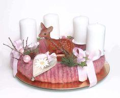 Adventskranz  Wolle rose von Claudia`s Geschenkparadies auf DaWanda.com