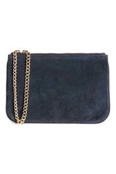 Suede pouch bag with a chain - Dark blue - Ladies | H&M GB 1
