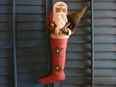Primitive Folk Art Santa Christmas Doll Grungy Door Greeter Antique JAN #NaivePrimitive