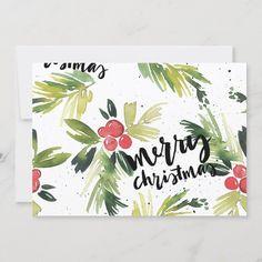 Merry Christmas Card Photo, Painted Christmas Cards, Merry Christmas Wallpaper, Merry Christmas Images, Watercolor Christmas Cards, Merry Christmas Greetings, Christmas Photo Cards, Christmas Greeting Cards, Christmas Art