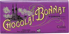 Chocolat Bonnat Cuba... Μαύρη Σοκολάτα 75% κακάο από την Κούβα. Εντονο άρωμα κακάο με απαλή και νόστιμη γεύση, χωρίς να είναι πικρή αλλά ούτε και γλυκιά. Είναι σαν να απαλύνει η πικράδα του κακάο από γάλα ενώ δεν περιέχει! Είναι ευχάριστη και μπορεί να την φάει κάποιος που δεν είναι λάτρης της μαύρης σοκολάτας. Μέτρια κρεμώδη υφή. Αφήνει στο τέλος απαλή γεύση κακάο. French Chocolate, Chocolate World, Dark Chocolate Bar, Cuba, Le Cacao, French Food, Neon Signs, Cards