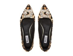 DUNE LADIES BRIELLA - Jewelled Square Brooch Pointed Toe Flat Shoe - leopard | Dune Shoes Online