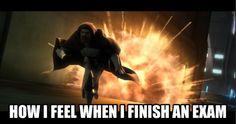 When I finish an exam, I feel like Obi-Wan Kenobi running from an explosion. #Clone Wars meme.