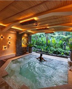 The Udaya Resorts & Spa is located right in the heart of luscious Ubud, Bali. Surround yourselves in serenity during your honeymoon in Bali, amongst green terraces and paddy fields and close to the calming waters of the Ayung River. Indoor Swimming Pools, Swimming Pool Designs, Indoor Jacuzzi, Home Spa Room, Luxury Homes Dream Houses, Dream Pools, Dream Home Design, Resort Spa, Future House