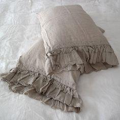 Linen  pillowcase with ruffles standard , queen , king , euro sham , body pillow size. Bed Pillows. Washed