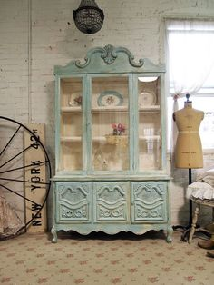 Painted Cottage Chic Shabby Aqua China Cabinet by paintedcottages, $525.00