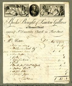 1732 billhead of Lawton Gilliver, bookseller