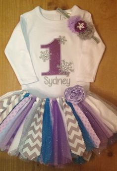 Purple, Turquoise and Grey Winter One-derland Scrap Fabric Tutu Outfit by ScrapHappyTutus on Etsy https://www.etsy.com/listing/211203739/purple-turquoise-and-grey-winter-one