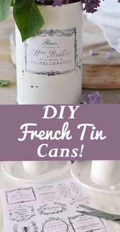 DIY Vintage French Recycled Tin Cans, by Diana Dreams Factory, for the Graphics Fairy! Search a pretty upcycled craft project. Graphics Fairy, Free Graphics, Diy Vintage, French Vintage, Vintage Crafts, Vintage Clocks, Decoupage, Recycled Tin Cans, Diy Blanket Ladder