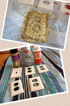 With a little mod podge, glitter, and clear sealant you can transform any room into a princess room!