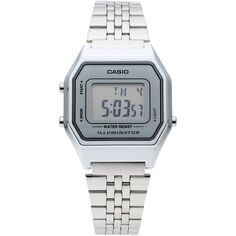 Casio Wrist Watch ($45) ❤ liked on Polyvore featuring jewelry, watches, light grey, casio wrist watch, stainless steel watches, casio watches, stainless steel jewellery and logo watches