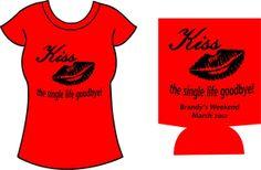 Bachelorette T shirts and Koozie Combo, Custom printed on Name brand Ts