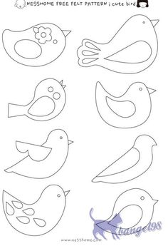 Embroidery Patterns Birds Felt Ornaments Ideas For 2020 Bird Patterns, Applique Patterns, Felt Crafts Patterns, Bird Applique, Felt Patterns Free, Applique Templates Free, Felt Ornaments Patterns, Felt Templates, Animal Patterns