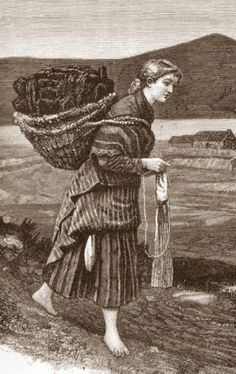 Many women (and in some places, men) had to work every day - except perhaps the Sabbath. They didn't always have the luxury of sitting to knit. They knitted while walking to market, or fetching home fuel (like this woman, who's lugging peat), and at many other moments in their busy lives.