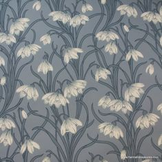 1920's Vintage Wallpaper Stunning White floral on blue background.