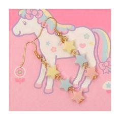 Kawaii Fairy Kei Ama Lolita Star Earrings Light Pink Blue Yellow from black tulip shop