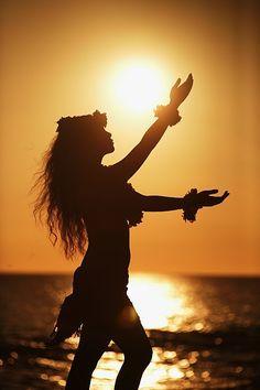 Hula Dancer in the Setting Sun