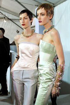 backstage at Christian Dior Haute Couture Spring 2013