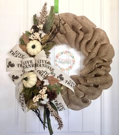 A personal favorite from my Etsy shop https://www.etsy.com/listing/544889809/give-thanks-burlap-wreath-fall-burlap