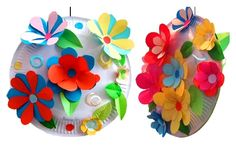 flowers in baskets from paper plates