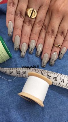 Nails for a wardrobe stylist  ig @dallasalexiaxo #measuringtape #nails #fashion #sewing #squarenails