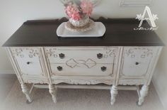 White Buffet The top was stained Non Toxic Stain and seal by PURE EARTH PAINT Free shipping on orders over $100