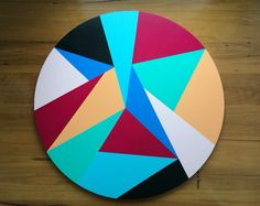 Large circle Geometric painting on artboard