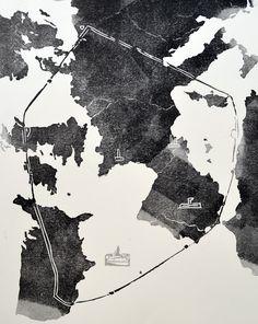 """""""Géographie du cœur"""" - Linogravure réalisée par Aimée Yamamoto. Format 24 x 32 cm."""