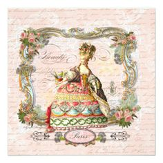 Marie Antoinette French Script and Pink Roses Invitations