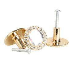 Amazon.com: Vktech 10PCS Round Pull Handle Glittering Rhinestone Knob for Cupboard Drawer (Gold): Hardware