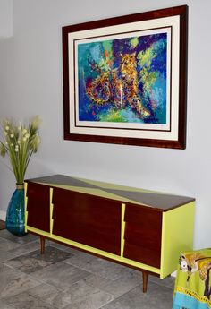 Custom painting on a mid century modern dresser. Love the chartreuse on the Dixie! Fine Paints of Europe Eco line