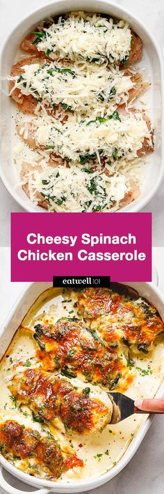 Spinach Chicken Casserole with Cream Cheese and Mozzarella - keto! All of the delicious flavors of cream cheese, spinach, and chicken are packed into this delicious dinner recipe! Delicious Dinner Recipes, Appetizer Recipes, Yummy Food, Tasty, Dessert Recipes, Drink Recipes, Cooking Recipes, Healthy Recipes, Easy Recipes