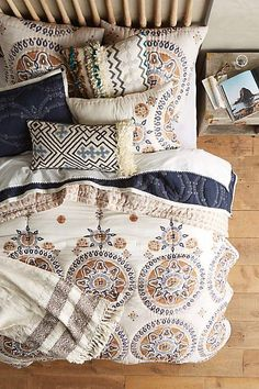 Anthropologie EU Otsu Quilt. We adore the soft hues and rich medallion motif of this classic bedding collection, perfect for adding an exotic accent to sleeping spaces.