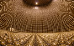 Pictured is the Super-Kamiokande, a giant neutrino detector, buried 1000m underground in Japan. Usually filled with 50,000 tonnes of pure water, the observatory detects neutrinos by watching for interactions with the subatomic particles in the water. These interactions are extremely rare, which is why the detector needed to be built to the scale it is.