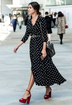 At Who What Wear, we can't get enough of dresses. You'll also know that … At Who What Wear, we can't get enough of dresses. You'll also know that we love street style. Celebrate the two with 50 images, and up your dress game. Mode Outfits, Fashion Outfits, Womens Fashion, Dress Fashion, Ladies Fashion, Heels Outfits, Fashion Clothes, Stylish Outfits, Red Shoes Outfit