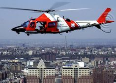 MH-68 Stingray helicopter: NEW YORK, New York (April 16, 2003)--A U.S. Coast Guard MH-68A Interdiction Helicopter flies a Homeland Security patrol over New York City in April. The MH-68A fleet is based in Jacksonville, Fla., and supports the many missions of the Coast Guard. USCG photo by PA2 Bill Barry