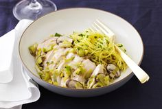 leek & mushroom chicken with herbed spaghetti squash from joy of kosher