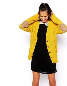 Image 1 of Glamorous Cable Knit Cardigan with Elbow Patch