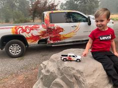 We wrapped the birthday boy's truck to match the original wrap we did awhile back! Car Wrap, Boy Birthday, Dads, Trucks, The Originals, Vehicles, Fathers, Truck, Car