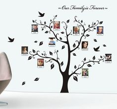 """Beautiful Family Tree Wall Decal with Quote - The Only Décor You Need for Living Room & Bedroom by Little Tots. Beautiful Family Tree Wall Decal easy to apply, decals better than wallpaper, painting & art murals. Eco-friendly, non-toxic decals - safe for your baby. Beautiful, huge size modern design decoration. Display your sweetest family trees album gallery. Finished Size: 180cm x 150 cm (72""""x60""""). Add colors without paint. Bring so much love, life, memory and happiness, get many…"""