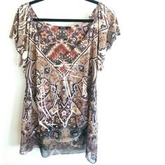 Apt 9 XL Brown Sublimation Print Top with Trim This Apt 9 XL Brown Sublimation Print Top with Chiffon Trim is in good used condition. Has tiny gem embellishments along V neck and chiffon trim around the bottom. Top is made of 94% polyester, 6% spandex fabric that's stretchy. Bust measures 21.5 inches across laying flat, measured from pit to pit, so 43 inches around. 29 inches long. ::: Bundle 3+ items from my closet and save 30% off when you use the app's Bundle feature! ::: No trades. Apt…