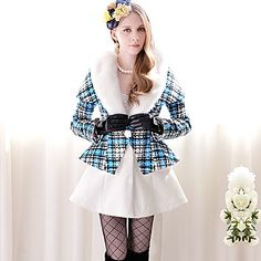 Women's Check Pattern Further Collar Splicing A-line Coat