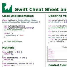 Download a handy 1-page PDF Swift Cheat Sheet and Quick Reference!
