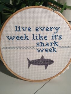 """30 Rock - Tracy Jordan Inspired """"Shark Week"""" Cross Stitch - i will make this one day..."""