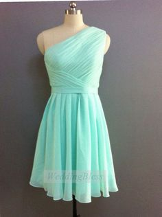 A teal one-strapped bridesmaids dress