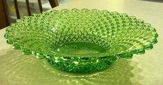 Vintage Westmoreland Glass English Hobnail Green Vaseline Glass Dish