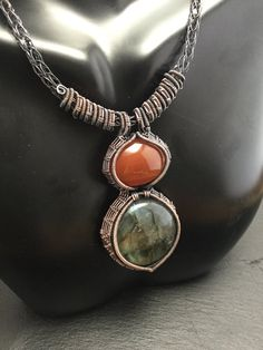 Large labradorite and carnelian duet wrapped by wireandbeyond808