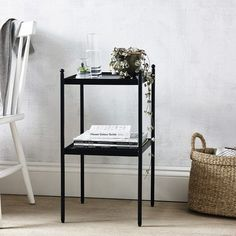 Side Tables Bedroom, Victorian Bedroom, White Side Tables, The White Company, Coffee Table Books, White Bedroom, Storage Shelves, Shelf, Contemporary