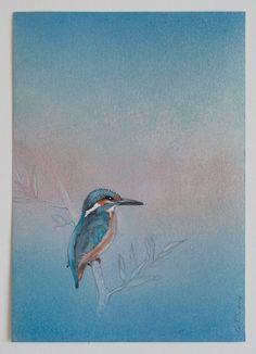 Gerda ten Thije: IJsvogel 1, 2011  pastel, potlood, kleurpotlood en stift op papier 21 x 15 cm collectie: J. van Loon